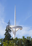 Telecommunication Tower designed for 1992 Summer Olympics in Barcelona Montjuic park on May 10, 2010 in Barcelona, Spain. Stock Photo