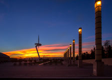 Telecommunication Tower designed for 1992 Summer Olympics in Barcelona Royalty Free Stock Photo