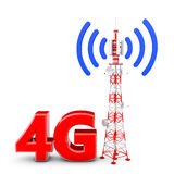 Telecommunication tower. With the emitted signal and the red letters: 4G Stock Photo