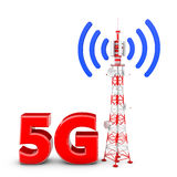 Telecommunication tower. With the emitted signal and the red letters: 5G Royalty Free Stock Photography