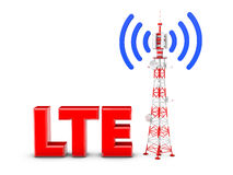 Telecommunication tower. With the emitted signal and the red letters: LTE Stock Photography