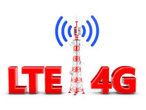 Telecommunication tower. With the emitted signal and the red letters: LTE 4G Royalty Free Stock Image