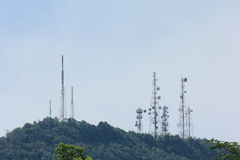 Telecommunication tower. On the hill Stock Images