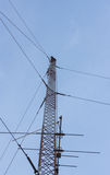 Telecommunication tower mast TV antennas wireless technology Royalty Free Stock Photos