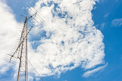 Telecommunication tower mast TV antennas Royalty Free Stock Photos