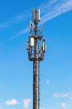 Telecommunication tower for mobile phone with antennas Stock Photo