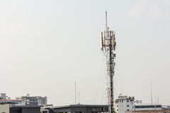 Telecommunication tower with multiple antennas and data transmit Royalty Free Stock Image