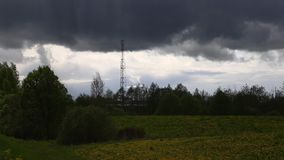 Telecommunication tower in the open air stock video