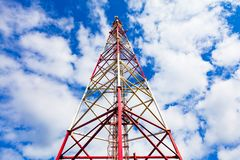 Telecommunication tower with panel antennas and radio antennas and satellite dishes for mobile communications 2G, 3G, 4G. Inside view of telecommunication tower royalty free stock images