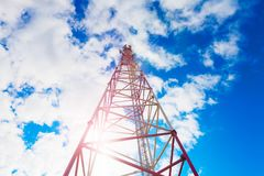 Telecommunication tower with panel antennas and radio antennas and satellite dishes for mobile communications 2G, 3G, 4G. Inside view of telecommunication tower Royalty Free Stock Image