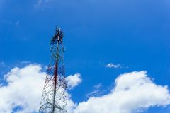 Telecommunication tower for radio wave or mobile cellular with beautiful clear blue sky and little clouds. Telecommunication and network connected concept Royalty Free Stock Photography