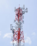 Telecommunication tower with a sunlight. Stock Photo