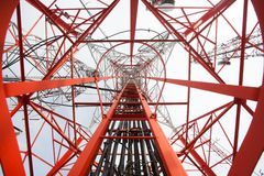 Telecommunication tower. With a sunlight. Used to transmit television signals Stock Photos