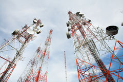 Telecommunication tower. With a sunlight. Used to transmit television signals Royalty Free Stock Image