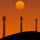 Telecommunication tower in sunset day Royalty Free Stock Images