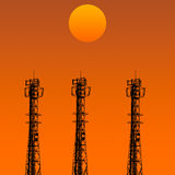 Telecommunication tower in sunset day Royalty Free Stock Image