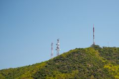Telecommunication tower of television stock photos