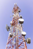 Telecommunication tower. With various of microwave links, antennas and dishes Stock Photos