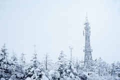 Telecommunication tower in winter Royalty Free Stock Image