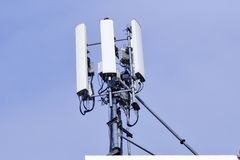 Telecommunication tower. Wireless Communication Antenna Transmitter. stock photography