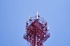 Telecommunication tower. Wireless Communication Antenna Transmitter. stock image