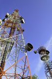 Telecommunication towers with blue sky Stock Photo