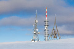 Telecommunication towers at Kronplatz,Italy Stock Photo