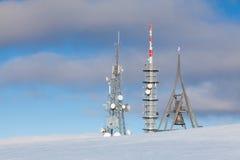 Telecommunication towers at Kronplatz,Italy Stock Photo