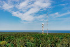 Telecommunication towers with TV antennas Royalty Free Stock Photography