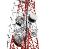 Telecommunication towers with TV antennas and satellite dish, isolated on white background Stock Photography