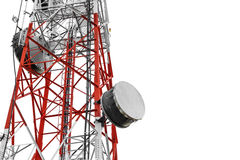 Telecommunication towers with TV antennas and satellite dish, isolated on white background Stock Photo