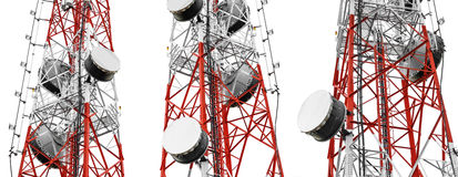 Telecommunication towers with TV antennas and satellite dish, isolated on white background, panorama Royalty Free Stock Photos