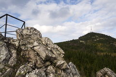 Telecommunication transmitters tower on Jested, Liberec, Czech Republic Royalty Free Stock Photography