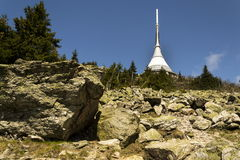 Telecommunication transmitters tower on Jested, Liberec, Czech Republic Royalty Free Stock Images