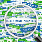 TELECOMMUNICATION. Word cloud illustration. Tag cloud concept collage Royalty Free Stock Photos