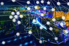 Telecommunications. Abstract atom background blue business city stock photography