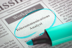 Telecommunications Analyst Join Our Team. 3D. A Newspaper Column in the Classifieds with the Jobs Section Vacancy of Telecommunications Analyst, Circled with a Royalty Free Stock Image