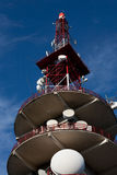 Telecommunications antenna. Close up of large telecommunications tower with satellite dishes Royalty Free Stock Photography
