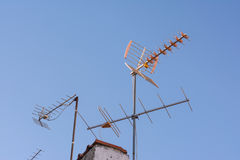 Telecommunications Antenna House Roof Sunset Sky Device Technolo Royalty Free Stock Photos