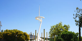 Telecommunications antenna in the Olympic ring of Montjuic. Barcelona Royalty Free Stock Photos
