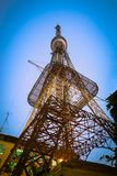 Telecommunications antenna for radio, television and telephony at twilight.  stock photos