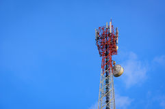 Telecommunications antenna tower for mobile phone Stock Image