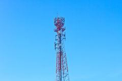 Telecommunications antenna whit cloud and Blue sky Royalty Free Stock Photos