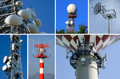 Telecommunications. Antennas for cellular telecommunications, radar, radio broadcasts and TV royalty free stock photography