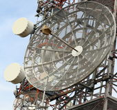 Telecommunications antennas of television and telephone signals Royalty Free Stock Images