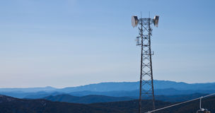 Telecommunications antennas tower Royalty Free Stock Images