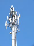 Telecommunications cell phone tower with antennas Royalty Free Stock Photo