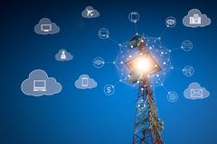 Telecommunications on cloud services concept. Telecommunications on cloud services, telecommunications tower with network connection and technology icon stock photos