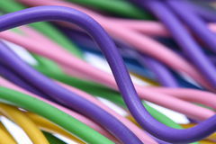 Telecommunications colorful cables. Macro of the telecommunications colorful cables Stock Photos