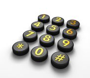 Telecommunications Concept. Telephone contact number button in white background 3d illustration Royalty Free Stock Image